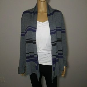 BCBGMaxari Purple/Gray Striped Open Front Cardigan